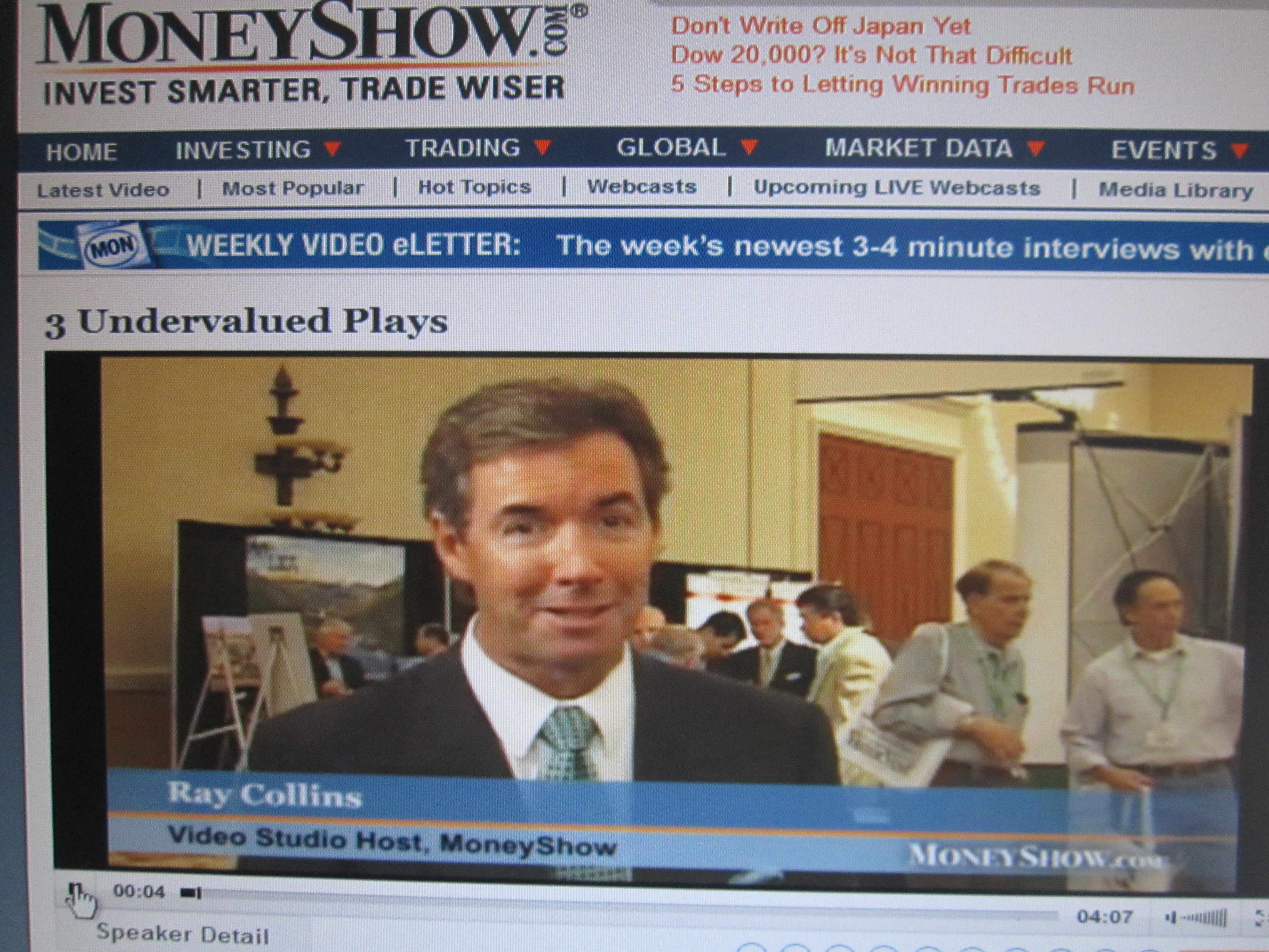 Ray Collins hosting segments on the MoneyShow from Caesars Palace in Las Vegas.