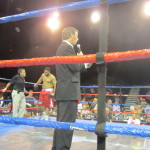 Ray Collins serving as Ring Announcer for a pro boxing match in Bradenton.