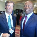Ray Collins interviewing Tampa Bay Bucs' Coach Lovie Smith
