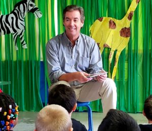 Reading to students at the Busy Bee 2 preschool.